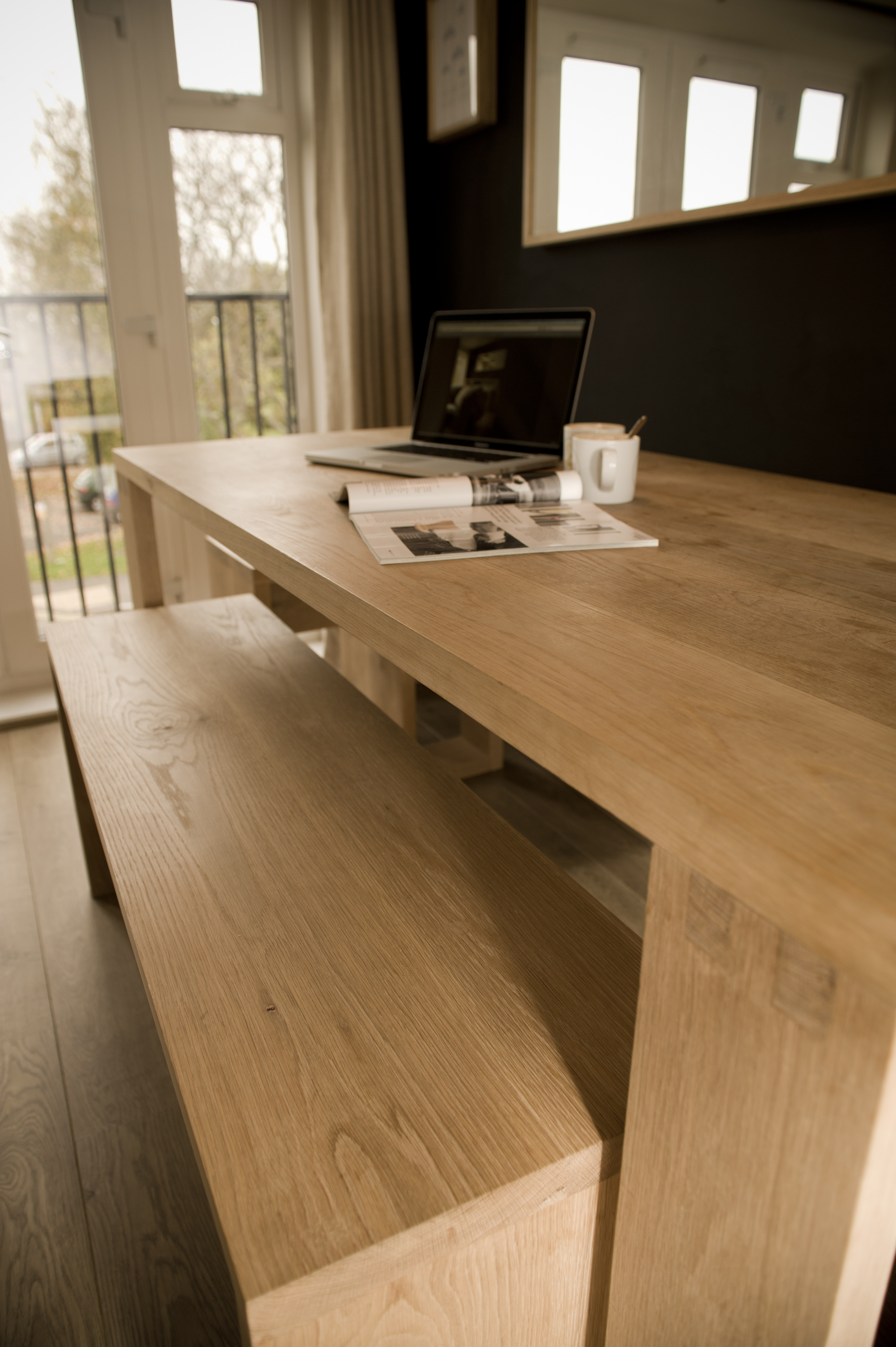 solid oak dining room table bench and stools